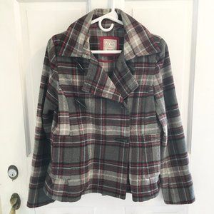 *4for$25 OLD NAVY Wool Blend Plaid Pea Coat SZ S
